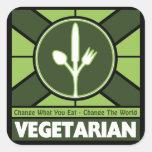 Vegetarische Flagge Quadrataufkleber