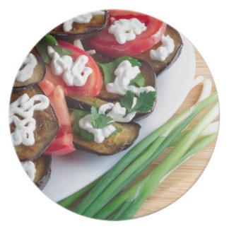 Vegetarischer Teller der gedämpften Aubergine