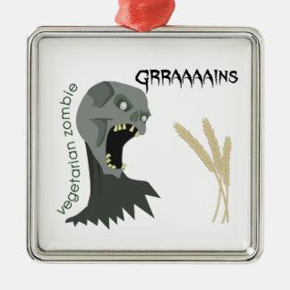 Vegetarischer Zombie will Graaaains! Silbernes Ornament