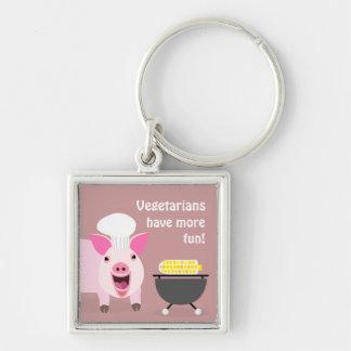 Vegetarisches Schwein Keychaing Silberfarbener Quadratischer Schlüsselanhänger