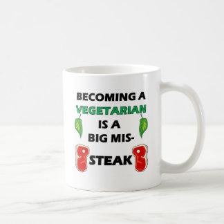 Vegetarisches Steak voll Kaffeetasse