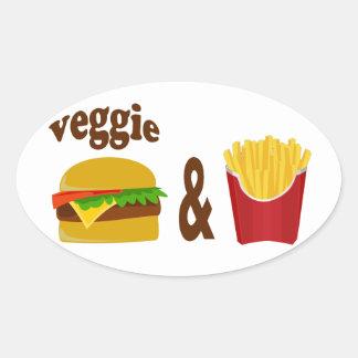 Veggie-Burger und Fischrogen Ovaler Aufkleber