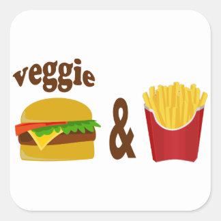 Veggie-Burger und Fischrogen Quadratischer Aufkleber