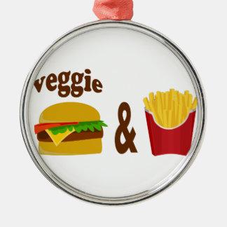 Veggie-Burger und Fischrogen Silbernes Ornament
