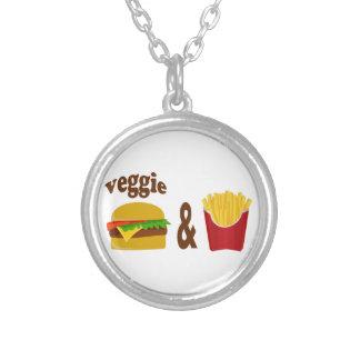 Veggie-Burger und Fischrogen Versilberte Kette