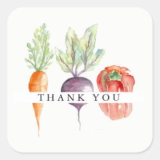 Veggie-Flecken-Aquarell danken Ihnen Quadratischer Aufkleber