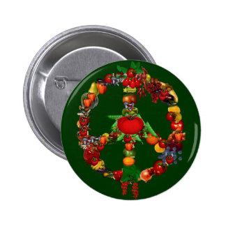 Veggie-Friedenszeichen Anstecknadelbuttons