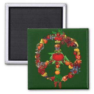 Veggie-Friedenszeichen Quadratischer Magnet