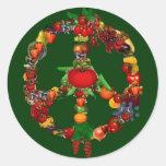 Veggie-Friedenszeichen Runde Sticker
