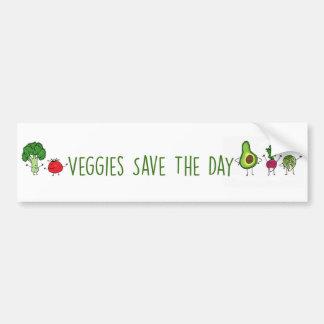 Veggies retten den TagesAutoaufkleber Autoaufkleber