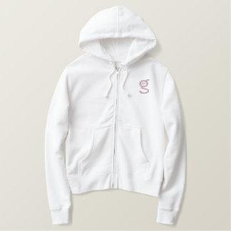 Veilchen-Logo des Damen-weißes Ziphoodie-w Bestickter Hoodie