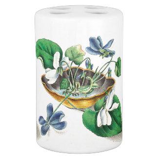 Veilchenblumenseashell-Blumen-Bad-Set Seifenspender & Zahnbürstenhalter