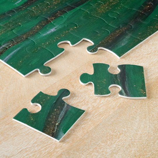 Veiled woman in dark green puzzle