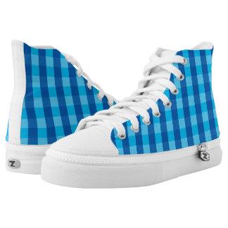 Vektorblaues Karo Muster Hoch-geschnittene Sneaker