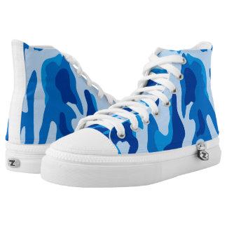 Vektorblaues Tarnungs-Muster Hoch-geschnittene Sneaker