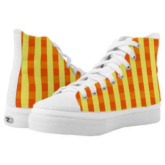 Vektorgelb überprüftes Muster Hoch-geschnittene Sneaker
