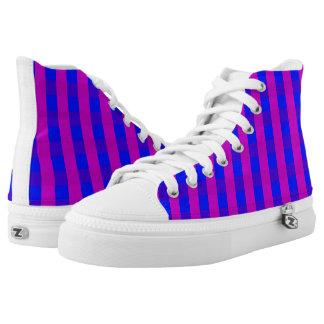 Vektorlila und Blau überprüftes Muster Hoch-geschnittene Sneaker