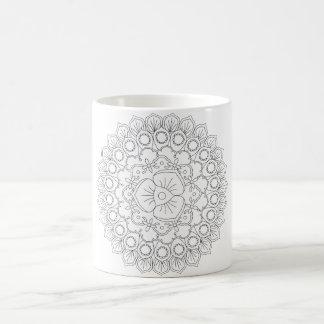 Vektorschöner Mandala, gemustertes Kaffeetasse