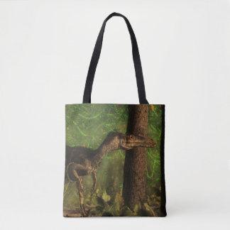 Velociraptordinosaurier im Wald Tasche
