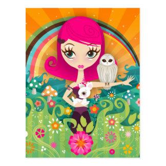 VelusaBerry großes Augen-Mädchen und Rotwild-und Postkarte