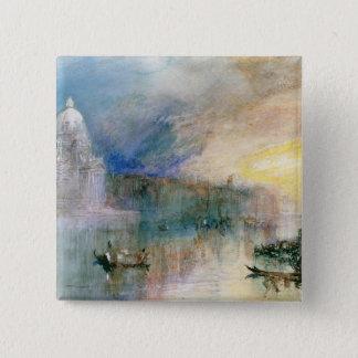 Venedig: Canal Grande mit Santa Maria della Gruß Quadratischer Button 5,1 Cm
