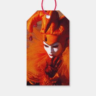 Venedig, Italien (IT) - orange Karnevals-Kostüm Geschenkanhänger