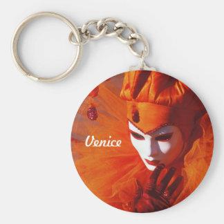 Venedig, Italien (IT) - orange Karnevals-Kostüm Schlüsselanhänger
