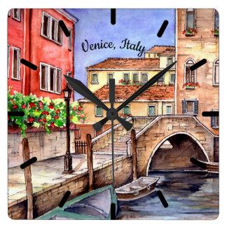 Venedig - Stift-u. Wäsche-Aquarell-Malerei Quadratische Wanduhr
