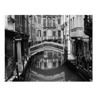Venedig-Wasserstraße Schwarzweiss Postkarte