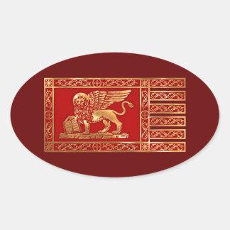 Venezianische Flagge Ovaler Aufkleber
