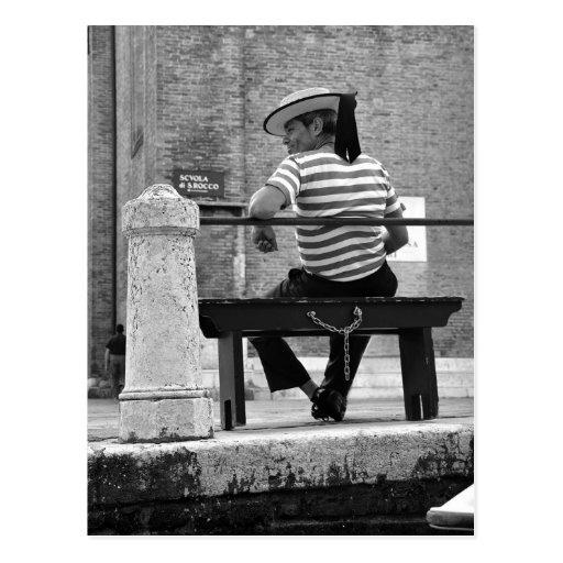 Venezianische Gondoliere-Postkarte