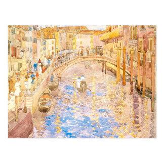 Venezianische Kanal-Szene Maurice Prendergasts Postkarte