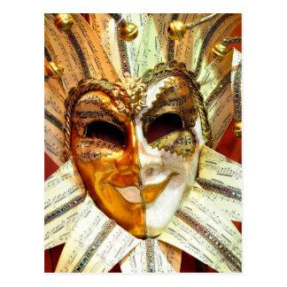 Venezianische Karnevals-Spaßvogel-Maske mit Bell Postkarte