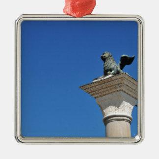 Venezianischer Löwe Silbernes Ornament
