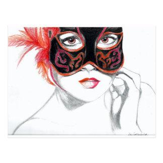 Venezianischer Masken-Mädchen-Rubin Postkarte
