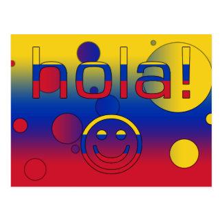 Venezolanische Geschenke: Hallo/Hola + Smiley Postkarte