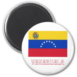 Venezuela-Flagge mit Namen Runder Magnet 5,1 Cm