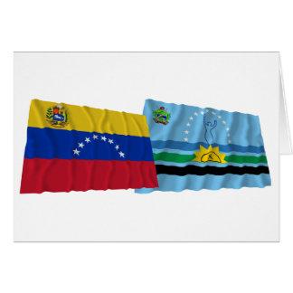 Venezuela und Monagas wellenartig bewegende Karte