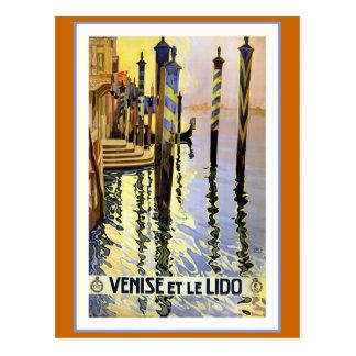 """""""Venise und Vintages Reise-Plakat le Lido"""" Postkarte"""