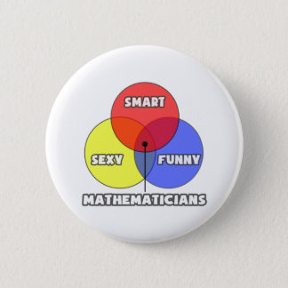 Venn Diagramm. Mathematiker Runder Button 5,7 Cm