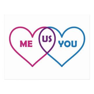 Venn Diagramm-Valentinsgruß - ich Sie wir Postkarte