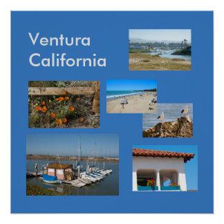Ventura, Kalifornien-Ferien-Schablonen-Plakat Poster