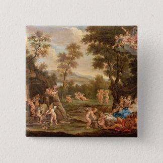 Venus in Vulcans Schmiede, 18. Jahrhundert Quadratischer Button 5,1 Cm