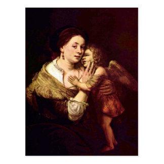 Venus und Amor durch Rembrandt Harmenszoon van Postkarte