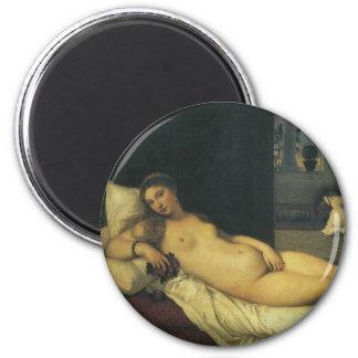 Venus von Urbino durch Titian, Renaissance-Kunst Runder Magnet 5,1 Cm