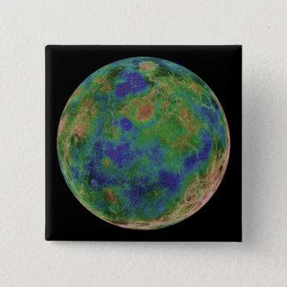 Venus zentrierte auf dem Südpol Quadratischer Button 5,1 Cm