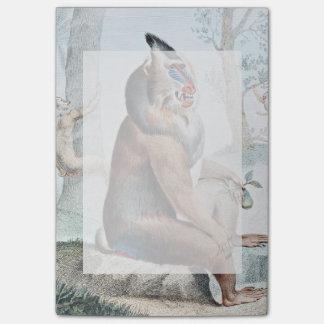 Veränderter Pavian-Vintage Kunst Post-it Klebezettel