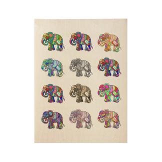 Veränderungen der bunten dekorativen Elefanten Holzposter