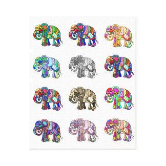 Veränderungen der bunten dekorativen Elefanten Leinwanddruck