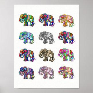 Veränderungen der bunten dekorativen Elefanten Poster